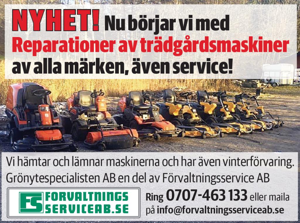 Reparation av gräsklippare och maskiner. Vi hämtar på plats. Värmdö, Nacka, Saltsjöbaden, Tyresö, Nacka, Stockholm. Förvaltningsservice AB.